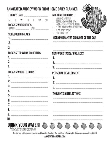 Work From Home Daily Planner (FREE PRINTABLE)