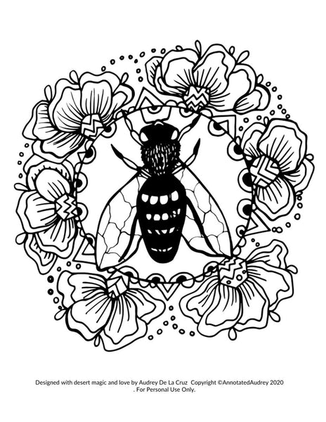 FREE PRINTABLE - Bee Coloring Page – ANNOTATED AUDREY
