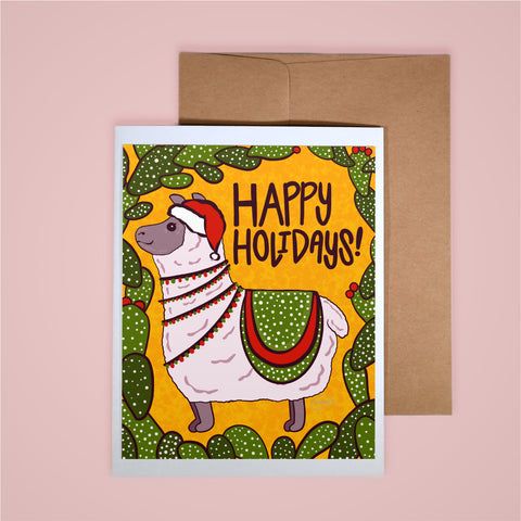 Holiday Card-Happy Holidays Santa Hat Alpaca