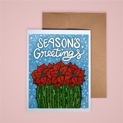Holiday Card-Season's Greetings Poinsettia Barrel