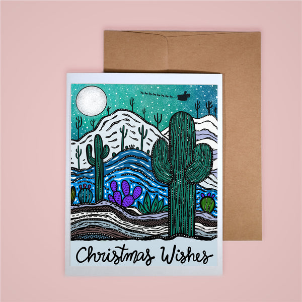 Holiday Card-Christmas Wishes (Teal)