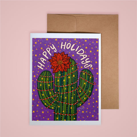 Holiday Card-Happy Holidays Poinsetta Saguaro