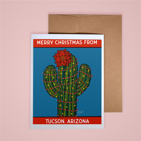 Holiday Card-Merry Christmas Poinsettia Saguaro