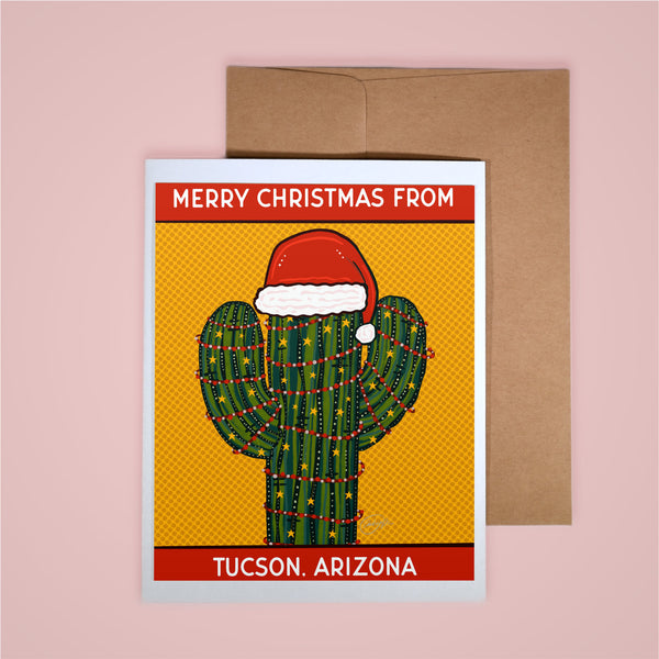 Holiday Card- Merry Christmas From Tucson Santa Hat Saguaro