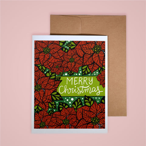 Holiday Card-Merry Christmas Poinsettas