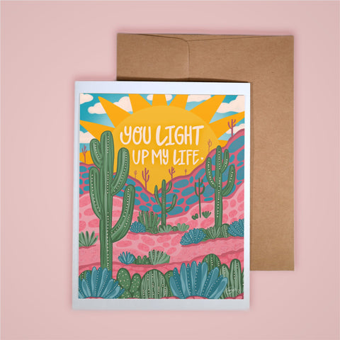 Card on pink background