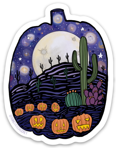 Annotated Audrey- Desert Halloween Sticker proof on white background