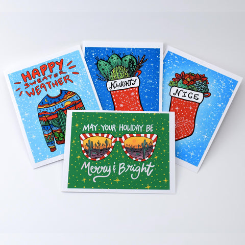 Annotated Audrey - Card Set - Happy Holidays 2019 on white background