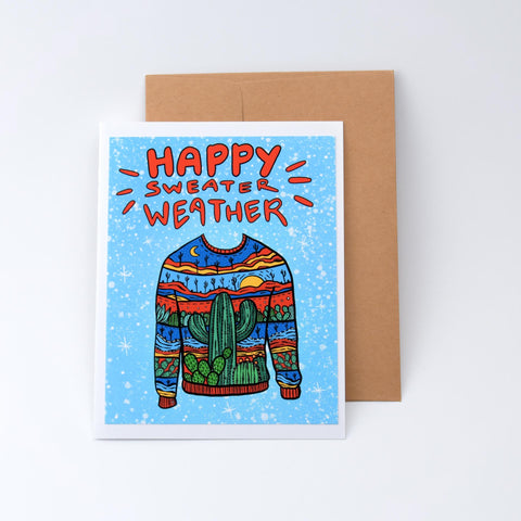 Annotated Audrey - Holiday Card - Sweater Weather on white background