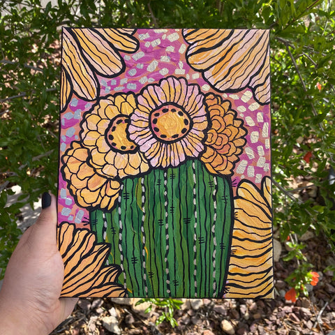 Desert Themed Hand Painted Canvas Held Outside