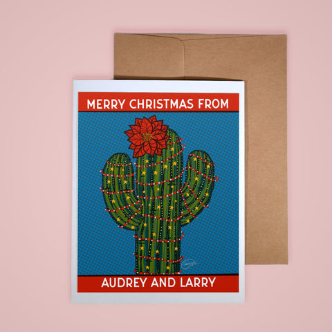 CUSTOM Holiday Card- Poinsettia Saguaro