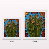 Comparing 8x10 and 11x14 framed art prints on a white wall