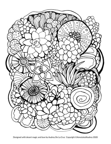 Free Printable Succulents Coloring Page Annotated Audrey