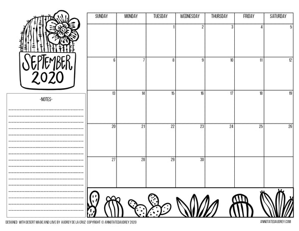 Free Printable - September to December 2020 Calendar