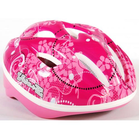 Volare - kids bike helmet - pink flowers (51-55 cm) (571)