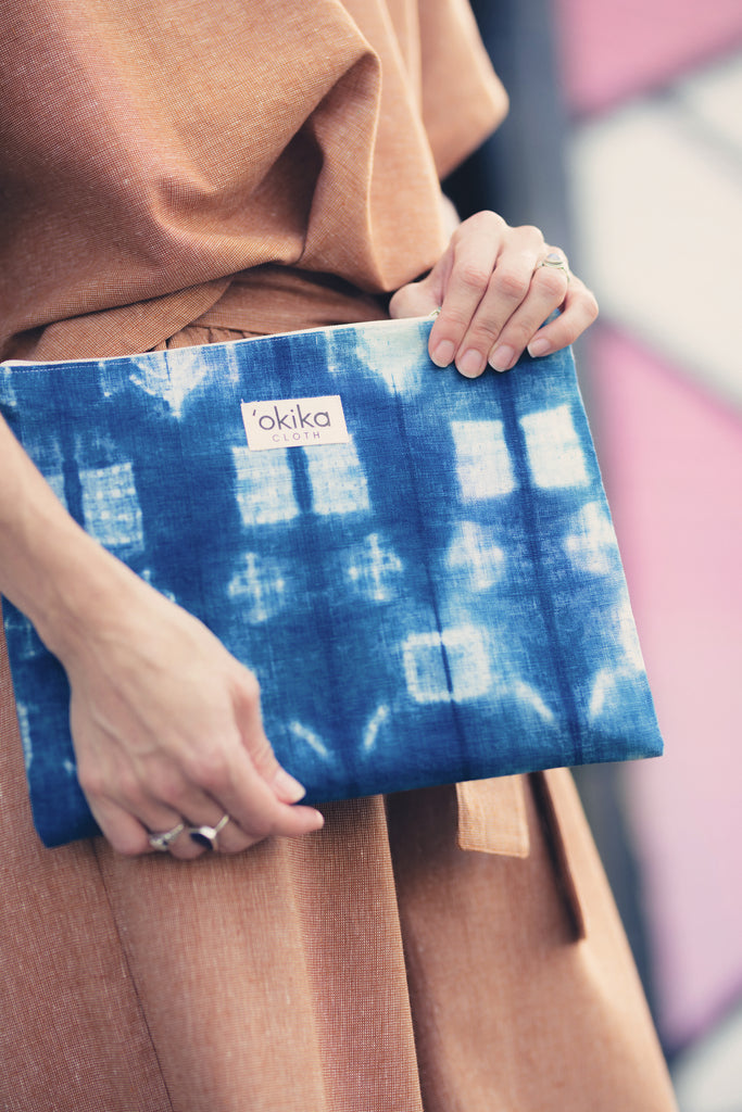 Shibori Zip Pouch - 'OKIKA CLOTH