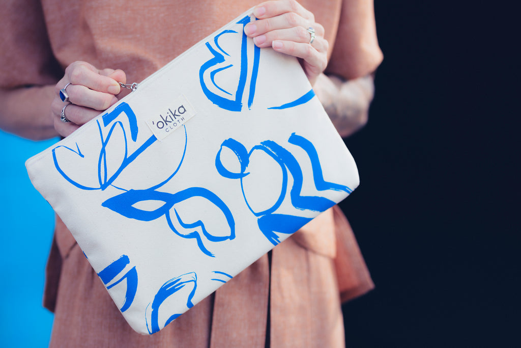 Printed Zip Pouch - 'OKIKA CLOTH