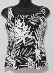 Mastectomy Swim Top Palm Glitz Black & White
