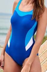 Mastectomy Swimsuit 'Kos High Neck Polyester One Piece' Blue