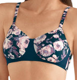 *SALE* Mastectomy Bra 'Audrey Moulded Wire Free Cup' Dark Blue Floral Print
