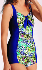 *SALE* Mastectomy Swimwear 'Samoa Boyleg One Piece' Royal Blue/Multi