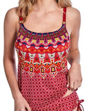 Mastectomy Swim Top 'Manda Tankini Top' Burgundy/Multi
