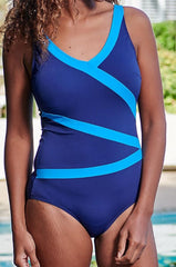 Mastectomy Swimsuit 'Mauritius High V-Neck Polyester One Piece' Navy Blue