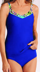 Mastectomy Swimsuit 'Samoa Tankini Set' Royal Blue /Multi