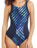 Mastectomy Swimsuit 'Toronto Polyester Highneck One Piece' Black/Multi