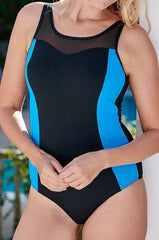 Mastectomy Swimsuit 'Mauritius Mesh High Neck Polyester One Piece' Black/ Blue