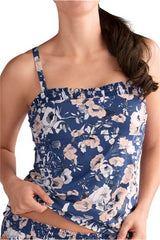 Mastectomy Swim Top 'Venice Tankini Top' Blue/Rose Floral