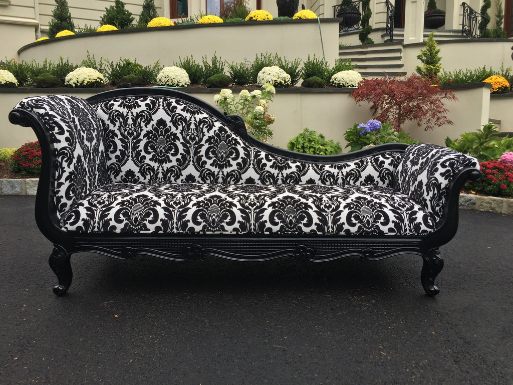 Marguerite Chaise - Black with Damask - Client Delivery