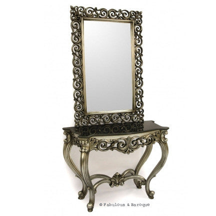 Emilie Baroque Console Table With Mirror   Silver Leaf