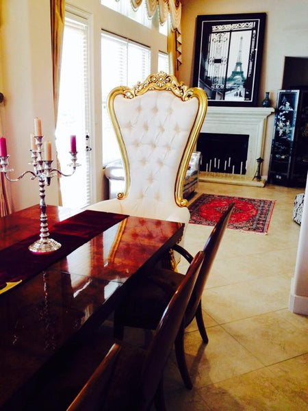 Gryphon Reine Chair - Gold & Cream Silk - Client Photo