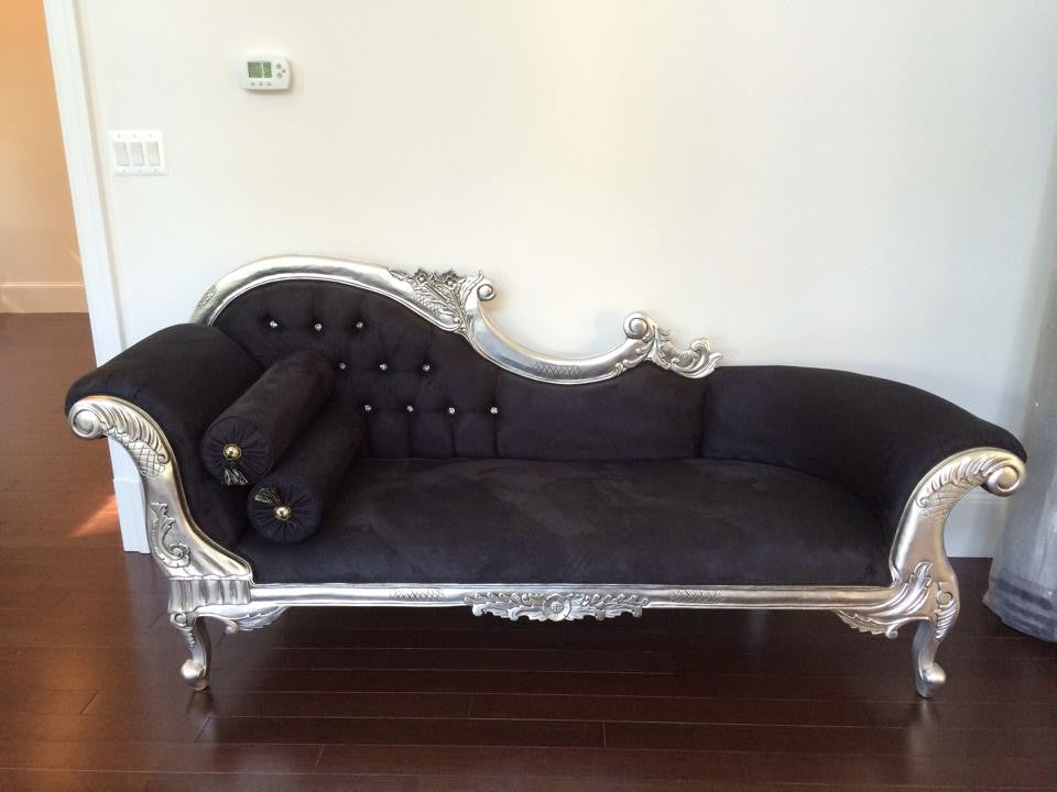 Queen Anne's Revenge Chaise- Silver Leaf, Black Microsuede & Swarovski Buttons - Client Photo