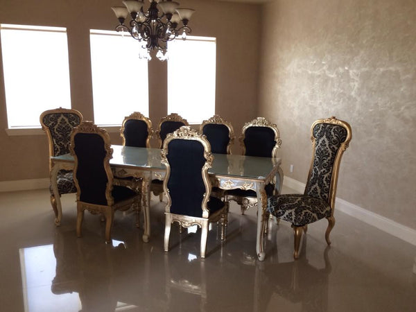 Versailles 8 ft. dining table (shown with Noblesse & Dauphine Chairs) - Cream & Gold- Client Photo