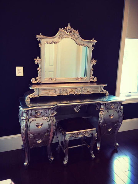 Fabulous & Rococo Dressing Table - Silver Leaf - Custom Made - Client Photo