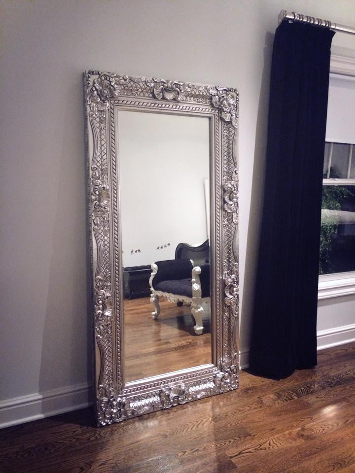 Grand Beau Wall Mirror 6ft x 3ft- Silver Leaf - Client Photo