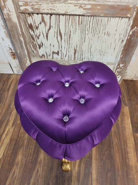 Selena Heart Shaped Dressing Table Pouf Chair - Gold & Purple