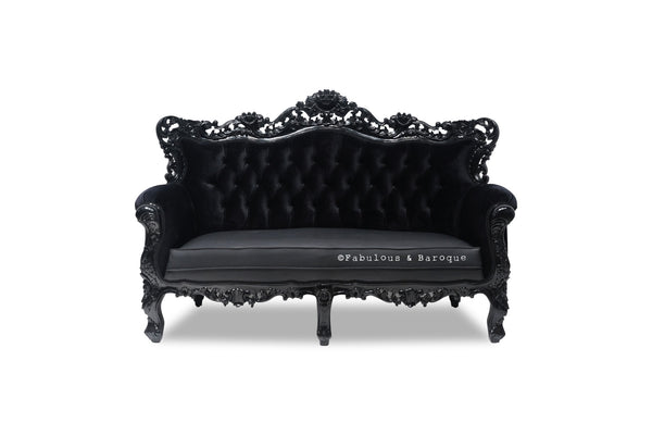 Belle de Fleur French Love Seat - Black Leather & Black Velvet