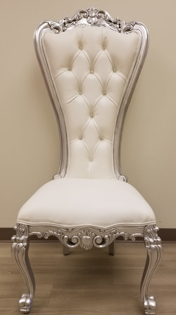 Absolom Roche Side Chair - Silver Leaf & White