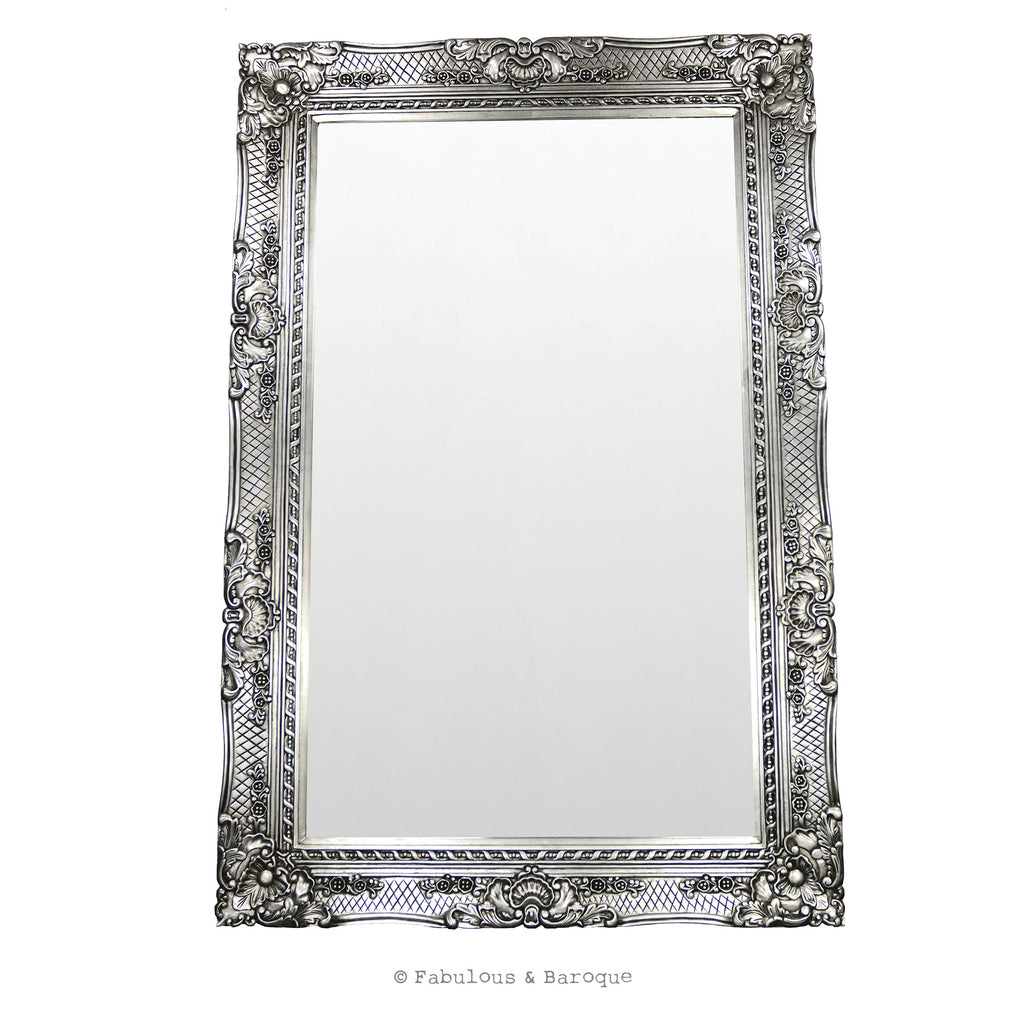 Grand Beau Wall Mirror 6ft x 4ft- Silver Leaf