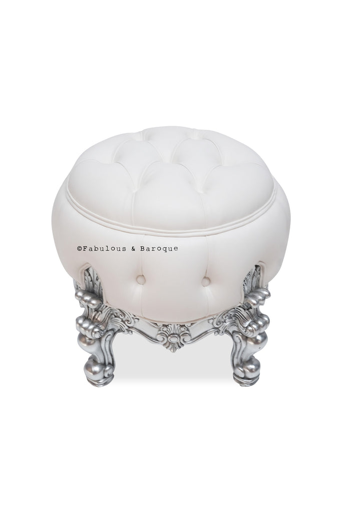 Absolom Roche Dressing Table Pouf Chair - Silver & White