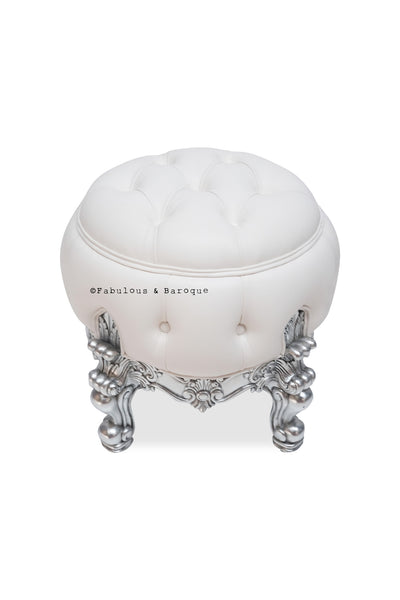 Gryphon Reine Dressing Table Pouf Chair - Silver & White