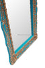 Monique Floor Carved Mirror - Aqua Mist & Gold