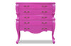 abby 5 drawer chest fuchsia front view baroque