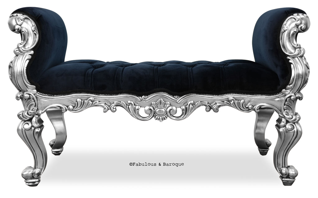 Fabulous and Baroque's Absolom Roche Bench - Silver Leaf