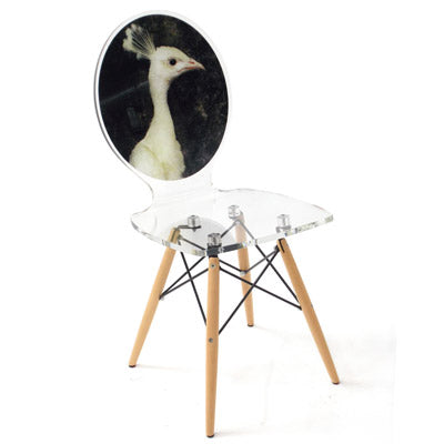 Graph Chair - White Peacock Hen with wooden legs