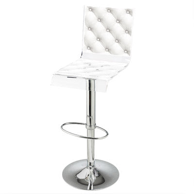 Capiton Barstool - White w/ metal adjustable pedestal base
