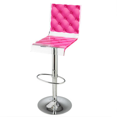 Capiton Barstool - Pink w/ metal adjustable pedestal base